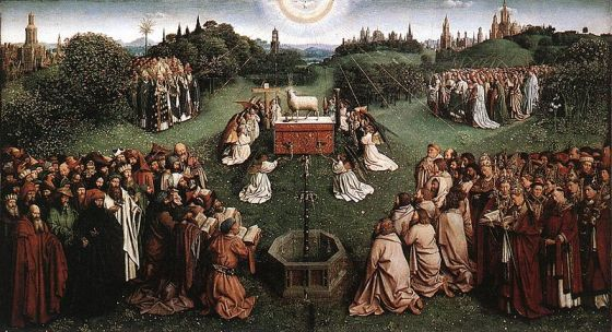 800px-Jan_van_Eyck_The_Ghent_Altarpiece_-_Adoration_of_the_Lamb